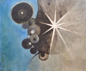 Weißer Stern auf blau-grauem Rosetten-Grund